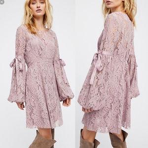 Free People Ruby Mauve Long Sleeve Lace Dress